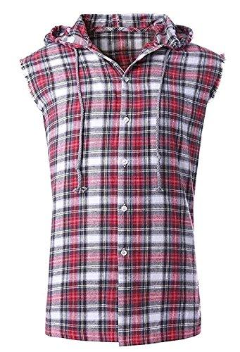 Rot-kariertes Button-down-shirt (SOOPO Herren Ärmellose Kariert Flanell Hemden Freizeithemd aus Baumwolle Sleeveless T-Shirt (S, rot&grau))