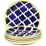 VarEesha Ceramic Quarter Plates Set, 6-Pieces, Multicolor