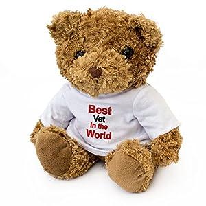 London Teddy Bears Oso de Peluche con Texto en inglés «Best veterin» en el Mundo - Bonito y Suave Peluche - Regalo de Premio, cumpleaños, Navidad