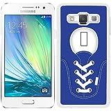 Funda carcasa para Samsung Galaxy A5 diseño zapatilla cordones color azul marino borde blanco