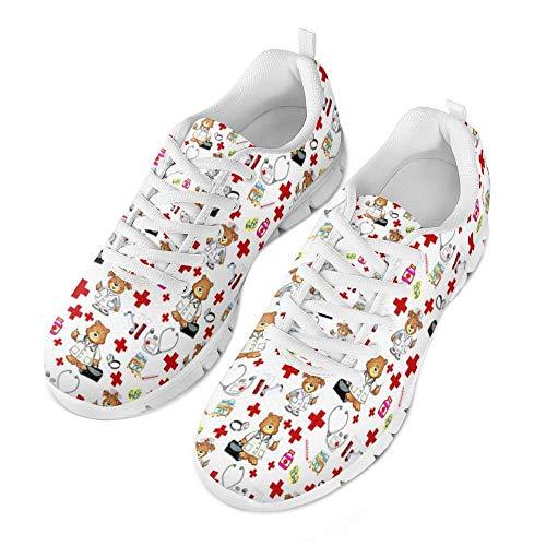 Coloranimal Funny Doctor Nurse Bär gedruckt Laufende Jogging-Schuhe für Frauen Männer Unisex Luftpolster Leichte Tennis Schuhe EU Größe 39 (Frauen-tennis-schuhe)