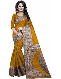 Ishin Kalamkari Art Silk Yellow Printed Party Wear Wedding Wear Casual Wear Festive Wear Bollywood New Collection...