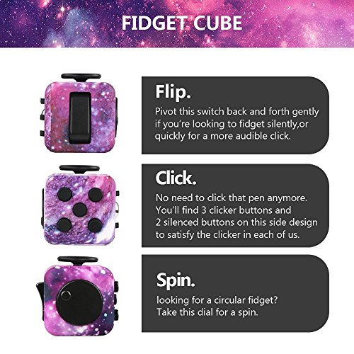 Betheaces Galaxy Fidget Cube with Click Ball, Anti-Stress/Anti-anxiety Fidget Toys for Children, Teen, Student, Adult Stress Reliever
