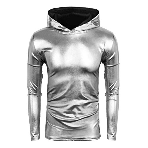 Cusfull Herren Metallic Pullover Glänzend Hoodie Langarm Sweatshirt Nightclub Party Disco Tanzen Casual Kostüm Schlank Fit Up Tops (Silber, S)