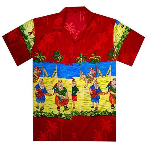 Christmas Hawaiian Shirt Womens.Christmas Hawaiian Shirt For Men Women Santa Beach Vacation Party Casual Shirt Red