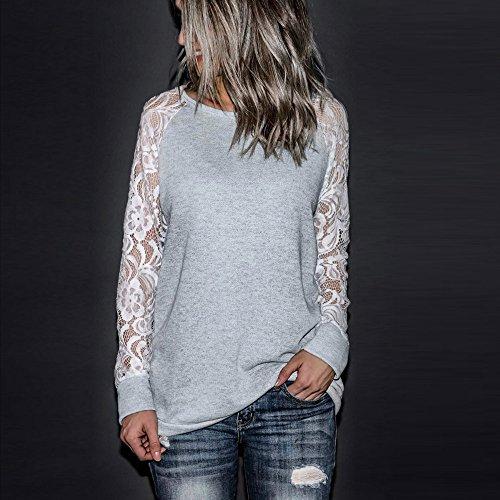Sunenjoy Dentelle Sweat Shirt Femme Automne Tops à Manches Longues Dames Hiver Sweat-shirt Coton Blouson Col Rond Casual Pull Elegant Chemisier Streetwear Gris