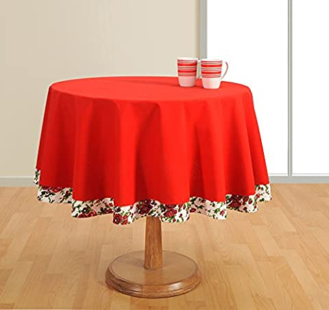 Round Table Cover Duck Cotton - 72 Inch Diameter -Red