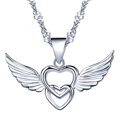 Yumi lok argento/oro rosa in argento sterling 925ali d' angelo intrecciati generale cuore ciondolo collana catena con ciondolo per donna ragazza, argento, colore: argento, cod. y30106-s