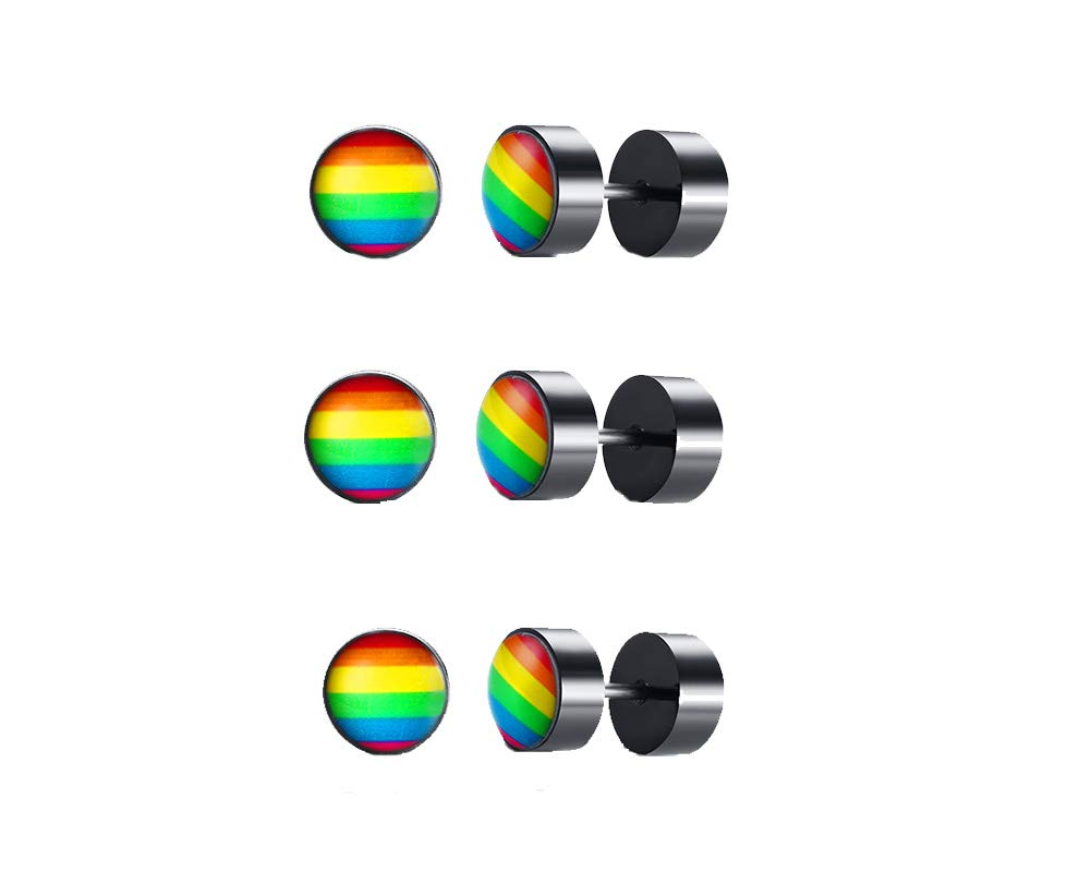3 Pairs Stainless Steel Lesbian Gay Pride Rainbow Stripe Dot Post Stud Earrings for Piercing Ear,Rainbow Gift Idea