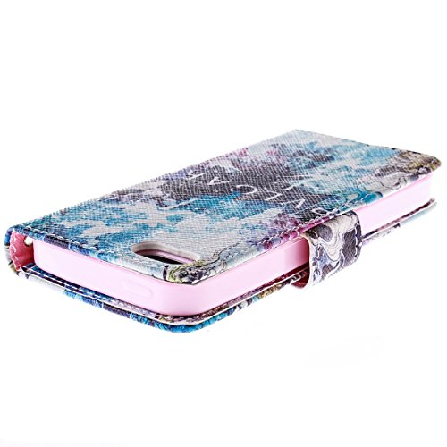 Ancerson Multi-Colored PU Pelle Patta Borsa Custodia Protettiva per Apple Iphone 5/5S/5G in pittura ad olio Stil Colorful Painting Flip Case Custodia in pelle sintetica custodia cover con funzione sta blau