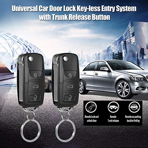 Festnight Universal Autotürschloss Keyless Entry System mit Trunk Release Button Remote Zentralverriegelung Kit -
