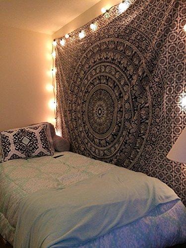 Craftozone Wandteppich / Tagesdecke, im Hippie-Stil, indisches Mandala-Design, Elefantenmotiv, Schwarz / Weiß, Single(220x140cms)