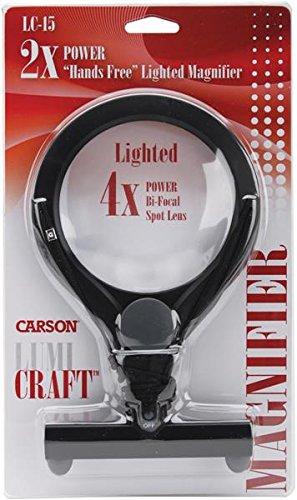 Carson LC-15 - Lupa LED (2 aumentos, con zona de 4 aumentos)