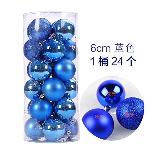 HAPPYLR Weihnachtskugeln Weihnachtsschmuck Weihnachtskugeln Helle Kugeln Plating Balls Weihnachtstag Anhänger 24 Fässer Paketkugeln, 6 cm Blau 24 Pack - 24k Fass