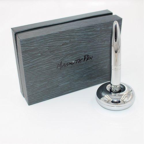 Magnetic floating pen - cromo lucido penna a sfera con base magnetica - la scrittura a penna con la misura magnet holder per articoli da regalo ufficio (base circolare)