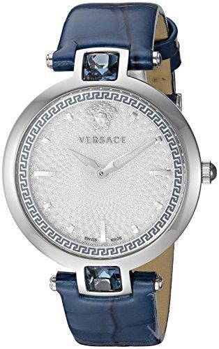 Versace Femme 'cristal Gleam' Swiss Quartz en acier inoxydable et cuir décontractée montre, couleur: bleu (modèle: Van020016)