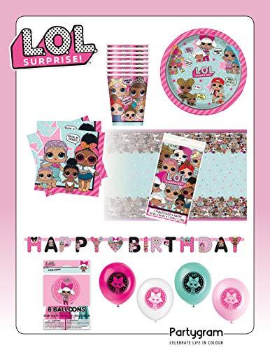 Partygram Set de Fiesta y Decoración Infantil Vajilla Desechable Feliz Cumpleaños LOL...