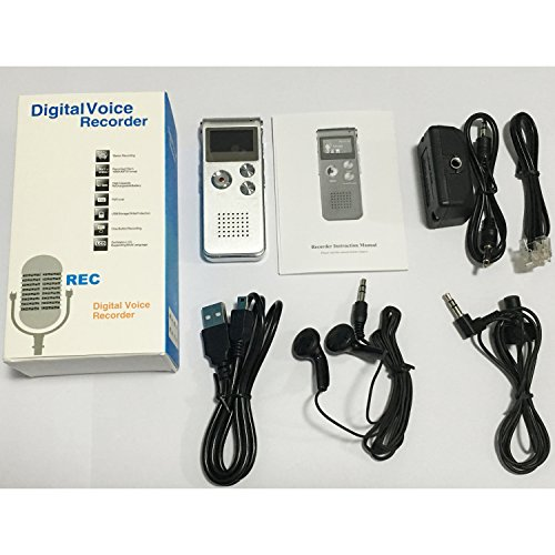 COOSA 8G / 16G alta registratore vocale digitale di qualità ad alta definizione del suono della penna di registrazione Intelligent HD Voice Audio Recorder dittafono vocale Voice Recorder USB ricaricabile dittafono registratore LCD con multifunzionale Digital Audio Registratore Digitale MP3 Musica Player-Registratore Ricaricabile con Altoparlante Incorporato, LCD Schermo,USB CONNESSIONE, Per Conferenza , Intervista e Incontro (16G, argento)