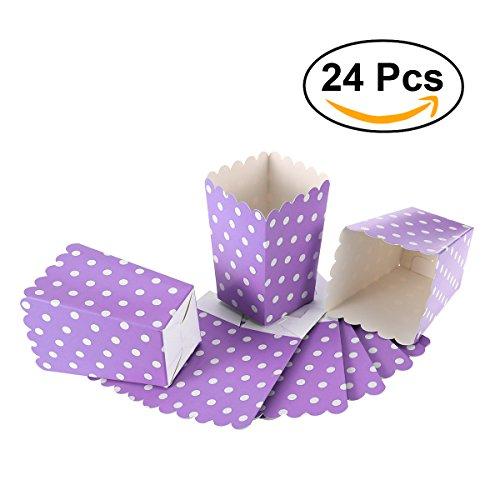 NUOLUX Popcorn Boxes,Candy Container Papiertüten Snack Box, 24 Stück (Lila) Hochzeit Bevorzugungen Papiertüten