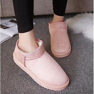 RTRY Chaussures pour femmes Tissu Pu hiver neige Bottes Mode bottes bottes Talon plat Bottes / Boots pour un café noir gris rose