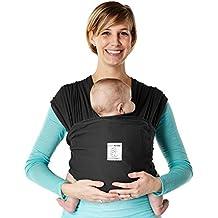 Baby K 'Tan - Fular Portabebés – Modelo Breeze Transpirable 100% Algodón (talla XS, Color Negro)