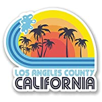 2 x 10cm Los Angeles California Vinyl Sticker Travel Luggage Tag Surf USA #5825 (10cm Wide x 9cm Tall)