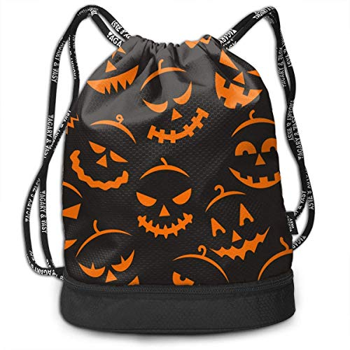 RAINNY Scary Halloween Multifunctiona Drawstring Sport Backpack Foldable Sackpack