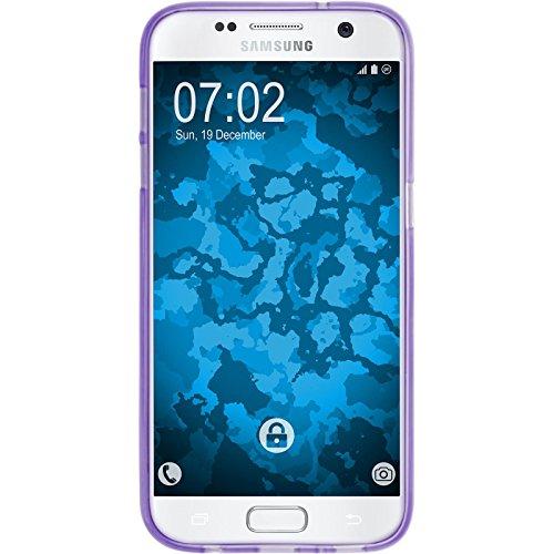 PhoneNatic Case für Samsung Galaxy S7 Hülle Silikon hellblau Iced Cover Galaxy S7 Tasche + 2 Schutzfolien Lila
