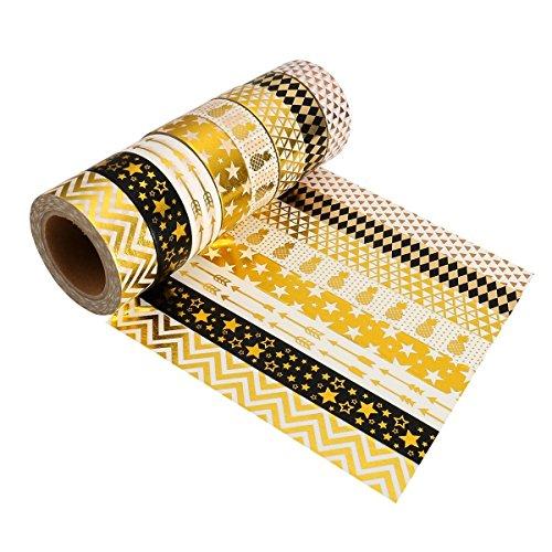 Washi Masking Tape Set HoochTech 8 Roller Weihnachten Decobänder Glitzer Klebeband Dekoband für Scrapbooking Dekotion DIY Handwerk Party Supplies und Geschenkverpackung Golden