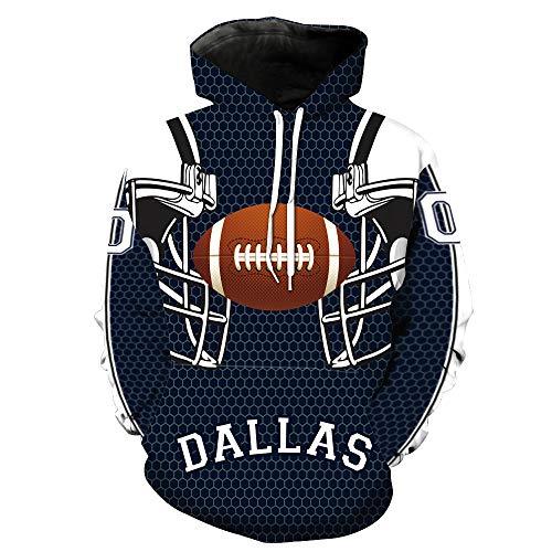 ZXTXGG Männer 3D Hoodies Fußball Helm Dallas Cowboys NFL Football Team Uniform Muster Digitaldruck Kapuzenpullis Liebhaber Kapuzenpullis(L,Dunkelblau) (Dallas Cowboy Helme)