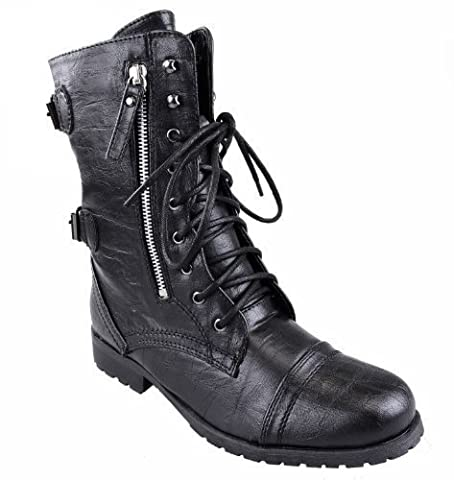WOMENS LADIES ARMY COMBAT LACE UP GRUNGE MILITARY BIKER PUNK GOTH ANKLE BOOTS (UK 6, Black Faux Leather)