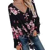LRWEY Tops Beiläufig Blusen Blumig V-Ausschnitt Vintage Bohemian Strandtunika Sommerkleid Tunikakleid Tunika T-Shirt Lange Bluse Sexy Tops Sommerkleid Tunikakleid T-Shirt Bluse