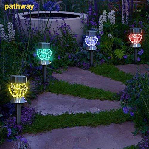 goodjinHH 4Pcs LED Solar Gartenleuchten Diamant Solar Garten Stake Lichter Auto Sensor Funct, ideal für Outdoor Indoor im Jäten, Garten, Landschaft, Party und anderen besonderen Ereignissen