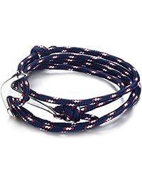 Vnox Hombres de acero inoxidable de las mujeres de color azul oscuro Nylon trenzado cuerda marina Anchor Viking envolver pulsera,plata