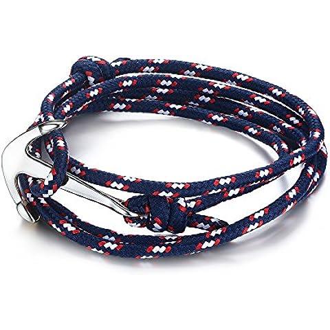 Vnox Acciaio inossidabile blu scuro di nylon corda intrecciata maschile femminile Maritime Anchor vichingo spostano il