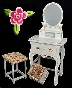ts ideen handverzierter schminktisch mit spiegelaufsatz und handbemalte dekoration. Black Bedroom Furniture Sets. Home Design Ideas