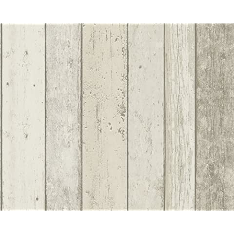 A.S. Creation New England 895110 Patterned Wallpaper Wood-Look Beige /