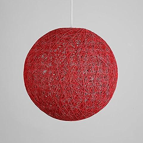 Lantu Modern Black Lattice Wicker Rattan Globe Ball Style Ceiling Pendant Light Lampshade Home Dining Decoration Lamps (Red