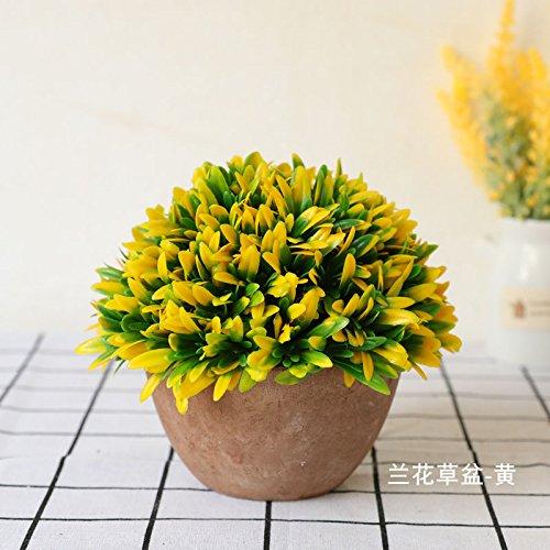 Self-My Künstliche Blumen Emulation Kleine Topfpflanzen Home Wohnzimmer Eingerichtet Mit Green-Desktop Setup See Blau Holz- Becken - Rosa Gefälschte Blumen (See-brautstrauß)