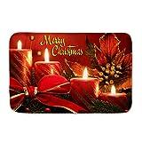 POLERO Weihnachtsmatte Merry Christmas Fußmatte Türmatte Schlafzimmer Tür Küche Badezimmer Weihnachtsdekoration Adventskerze 1