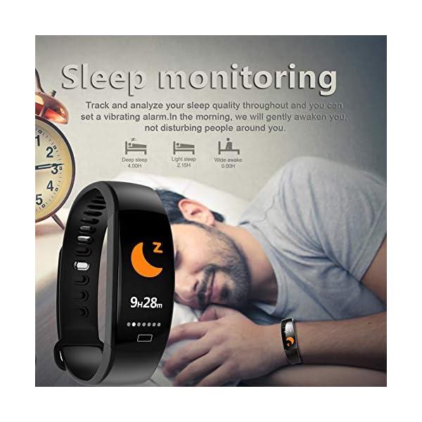 Pulsera impermeable Bluetooth 4.0fitness Tracker podómetro Monitor de ritmo cardiaco del sueño mallalah deporte reloj Smart Watch, color Negro 9