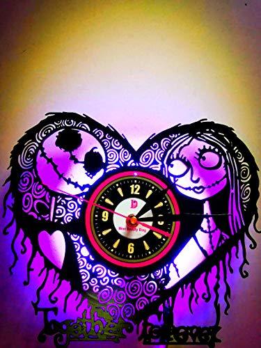 Meet Beauty Ding Einzigartige Vinyl-Wanduhr, handgefertigt, DIY-Original, kreatives The Nightmare Before Christmas, LED-Licht, hängende Geschenkidee, Kinderzimmer, 30,5 cm
