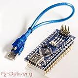AZDelivery Nano V3.0 ATmega328 version complètement prêt soudée et améliorée avec câble USB, compatible avec Arduino Nano V3 à 100%