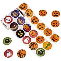SAVITA Halloween Stickers Roll Pumpkin Sticker Roll Party Favors for Kids-Pumpkin, Bat, Owl (2 Rolls, 640 Pcs)