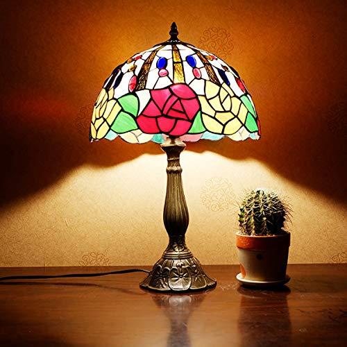 Tiffany Tischlampe,Tiffany Glasmalerei Lampe für Schlafzimmer, Nachttischlampe, Bar, Rose Dekoration Lampe GYLTF-038