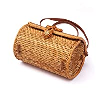 xihuanjia Rattan bag diagonal mini bag Sen basket tweezers retro art hand-woven leather buckle bag Length 21.5* height 14cm