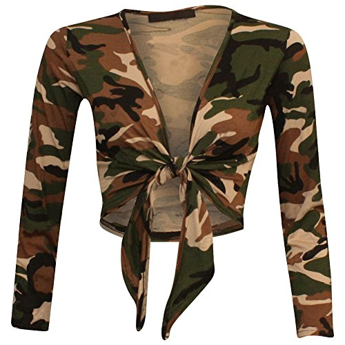 New Womens Ladies Long Sleeve Tie Front Bolero Cropped Shrug Top Cardigan 8-22 (Cardigan Front Cropped)