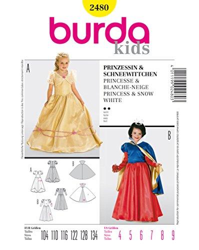 Burda 2480 Schnittmuster Kostüm Fasching Karneval für Prinzessin & Schneewittchen (kids, Gr. 104 - 134) Level 2 leicht (Plus Schneewittchen Kostüme)