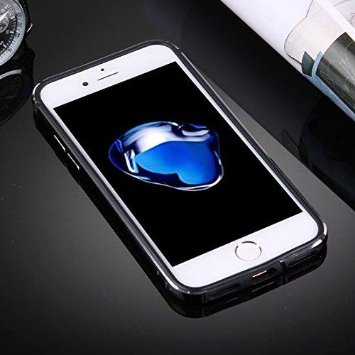 iPhone Case Cover Pour iPhone 7 TPU + cadre en aluminium de châssis en alliage ( Color : Rose gold ) Black