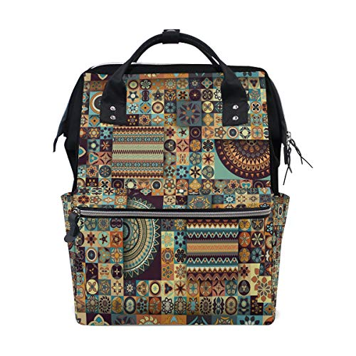Alte Floral Mandala Tribal Style Große Kapazität Windel Taschen Mummy Rucksack Multi Funktionen Wickeltasche Tasche Handtasche Für Kinder Babypflege Reise Täglichen Frauen -